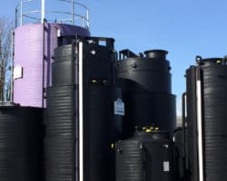 purple and black towers